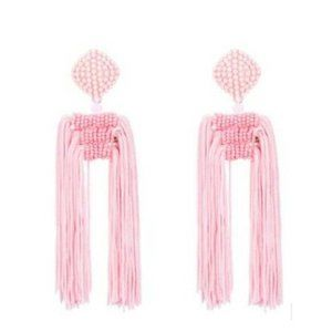 Pink Bohemian Tassel Long Drop Beaded Earrings